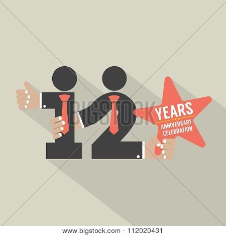 12Th Years Anniversary Typography Design.