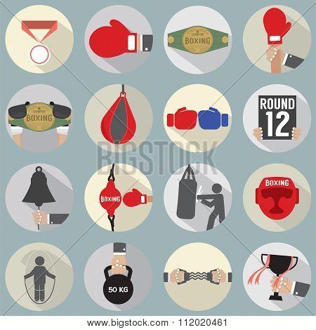 Flat Design Boxing Icon Set.