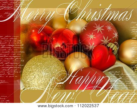 Merry Christmas And Happy New Year Festive Card With Red And Yellow Christmas-tree Toys, Text And He