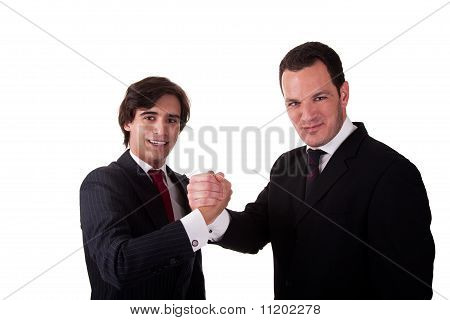 Handshake Between Two Businessmen Smilling, Isolated On White, Studio Shot