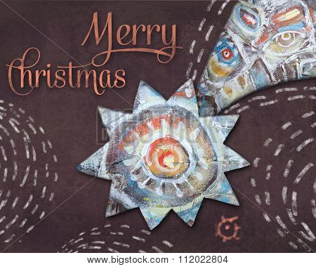Christmas Bethlehem Star On Brown Night Background. Christmas Eve. Holiday Greeting Card.