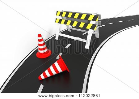 Under Construction Concept. 3D Barrier Barrier On The Road.