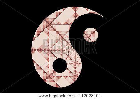 Stylized textured Yin-Yang symbol on black background
