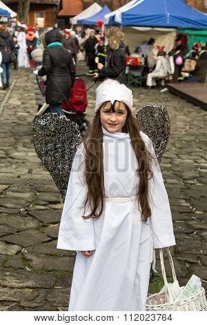 LANCKORONA POLAND - DECEMBER 12 2015: the winter-festival Angel in the country town. In this original way for many years now the country town promotes itself before tourists. Lanckorona Poland