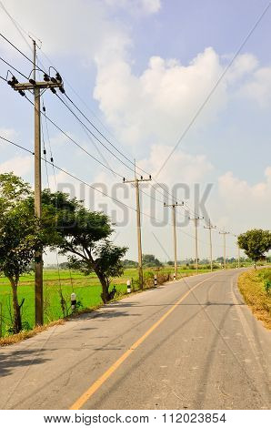 Electric pole on a country road