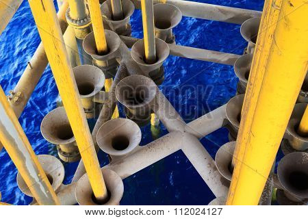 Dirty Oil And Gas Producing Slots At Offshore Platform - Oil And Gas Industry