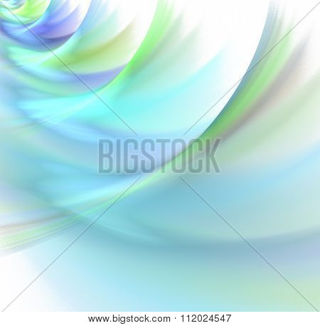 Abstract White Background With Rainbow Colored - Blue, Turquoise, Green, Violet - Pastel Waves Textu