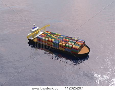 Cargo Ship Transporting Containers In A Calm Ocean.