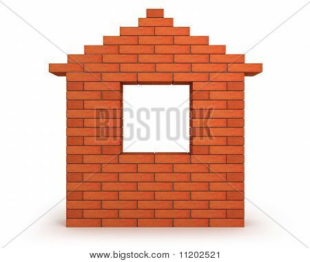 Abstract House Made From Orange Bricks Front View
