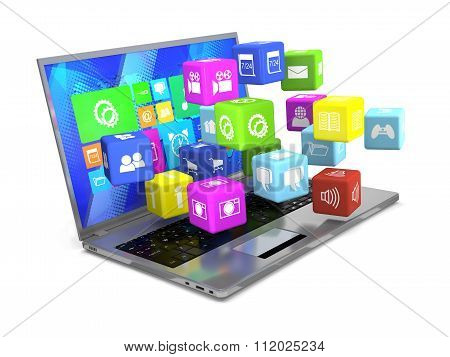Laptop And Flying Cubes With Icons.