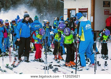 Young skiers preparing to ski in Bansko, Bulgaria