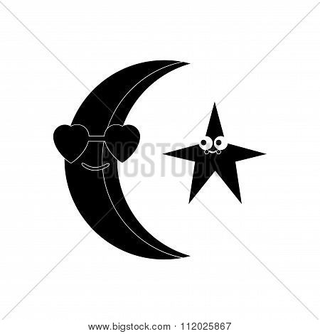 flat icon in black and white style moon and stars