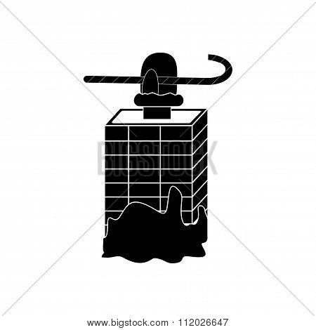 flat icon in black and white style chimney santa