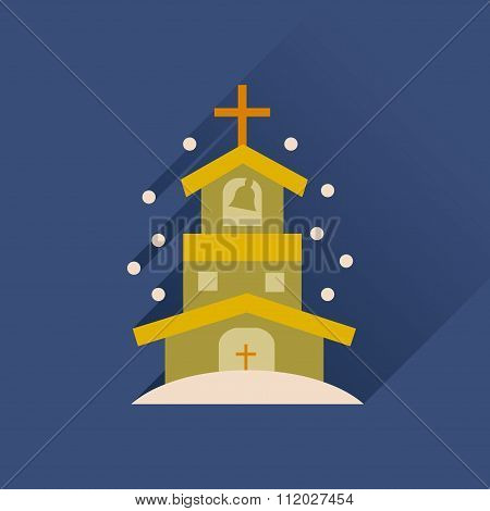 Flat icon with long shadow Catholic church