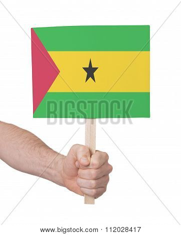 Hand Holding Small Card - Flag Of Sao Tome And Principe