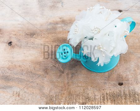 White Bouquet In Blue Flowerpot