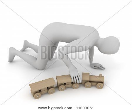 3D White Man Plays With Wooden Train