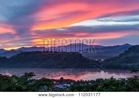 Sunset Over Mekong River, Mount Phousi, Luang Prabang,  Laos