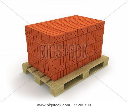 Stack Of Orange Bricks On Pallet, Isolated On White, Diagonal View