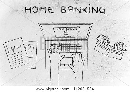 Bank Account Owner At His Laptop With Text Home Banking