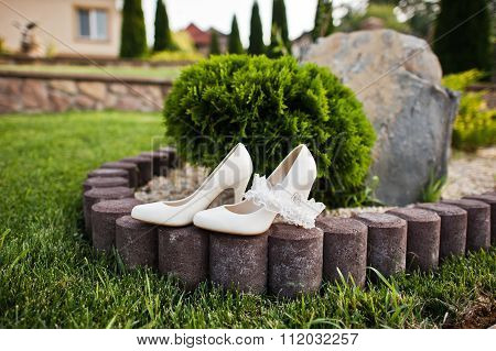Wedding Shoes On Green Grass
