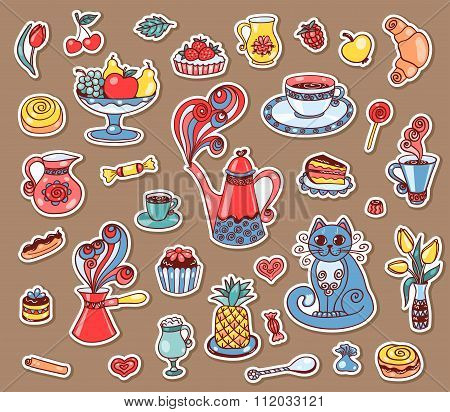 Set Of Beautiful Breakfast Stickers