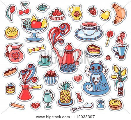Set Of Breakfast Stickers