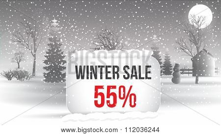 Winter Sale 5 Percent. Big Winter Sale Poster With Snowflakes. Christmas Card. Vector Eps 10