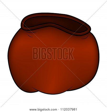 Santa Bag, Christmas Empty Sack Icon, Symbol, Design. Winter Vector Illustration Isolated On White B