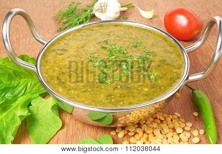Indian Food Palak or Spinach Sambar