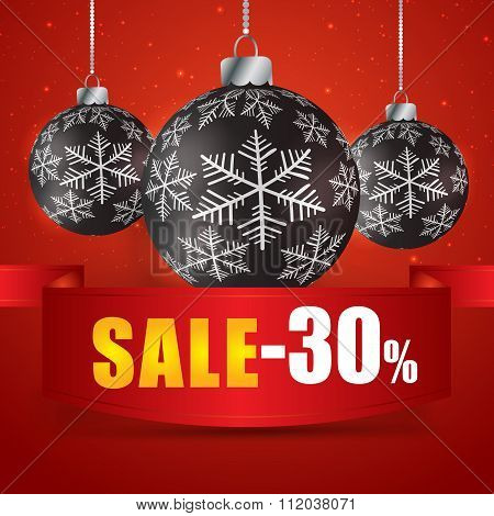 Winter Sale 30 Percent. Winter Sale With Red Background. Sale. Winter Sale. Christmas Sale. New Year