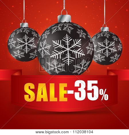 Winter Sale 35 Percent. Winter Sale With Red Background. Sale. Winter Sale. Christmas Sale. New Year