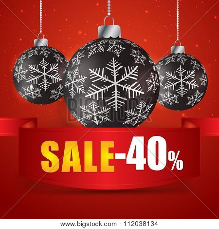 Winter Sale 40 Percent. Winter Sale With Red Background. Sale. Winter Sale. Christmas Sale. New Year