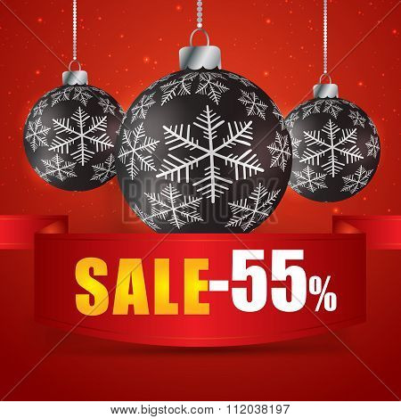 Winter Sale 55 Percent. Winter Sale With Red Background. Sale. Winter Sale. Christmas Sale. New Year