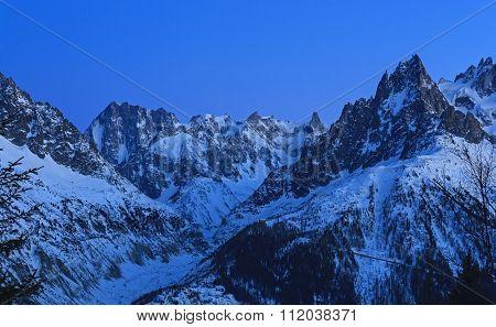 Mountain panorama after sunset