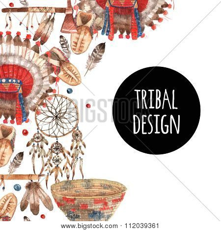 American native symbolic objects ornamental composition