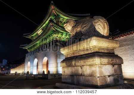 Gyeongbok Palace With Haechi At Night
