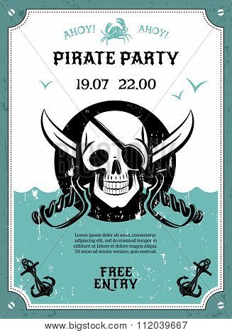 Pirate party announcement poster with skull