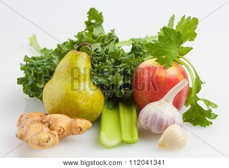 Ingredients For Kale Shake Isolated On White Background
