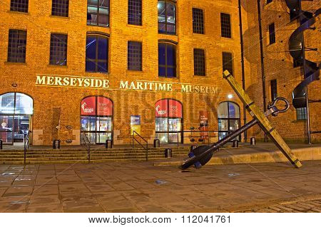 Liverpool Uk, December 16Th 2015. Entrance To The Merseyside Maritime Museum, A Popular Tourist Attr