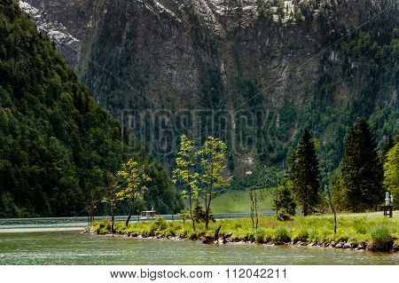 A Tourist Boat On The Konigssee.