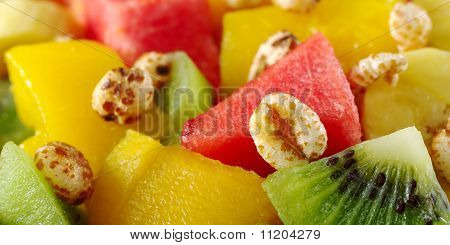 Puffed Wheat Cereal and Fruit Salad