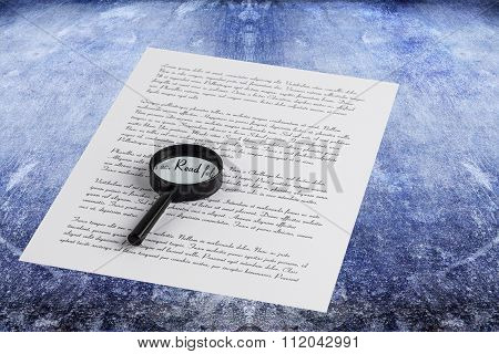 Magnifying Glass Enlarging The Word Read On A Page With Printed Text