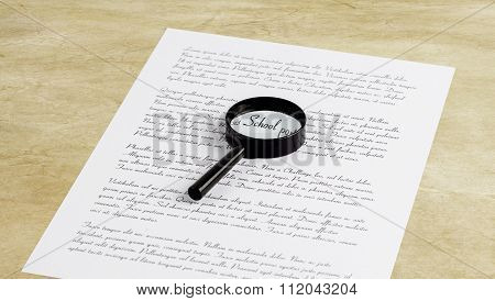 Magnifying Glass Enlarging The Word School On A Page With Printed Text