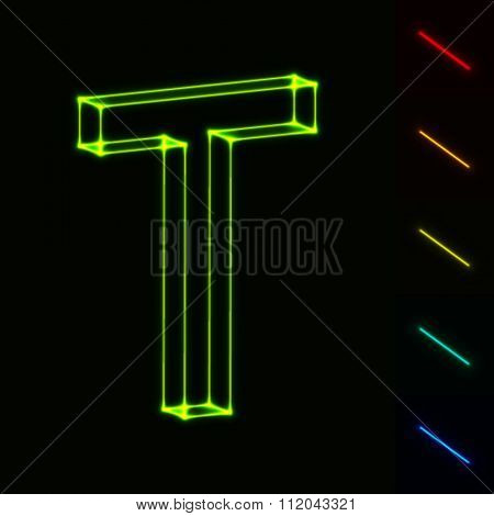 EPS10 vector glowing wireframe letter T - easy to change color