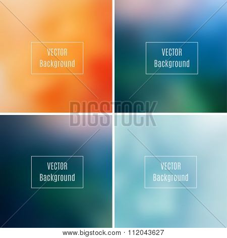Set Of Abstract Blurred Defocused Backgrounds, Orange, Blue And Dark Green Colored, In Vector