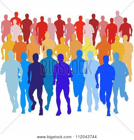 Set Of Silhouettes. Runners On Sprint, Men. Vector Illustration.