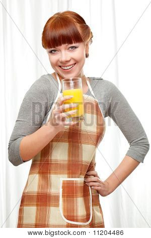 Ginger Woman At Kitchen