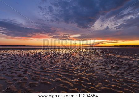 Beautiful Glowing Sunset Reflections In Sand Ripples, Inverloch, Australia