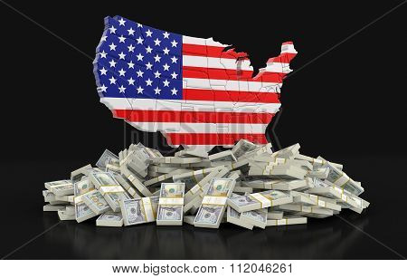 Map of USA with dollars. Image with clipping path.